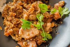 Thailändsk stilmat, griskött stekte med frasig vitlök, mjuk fokus r Royaltyfri Bild