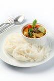 Thailändsk stilnudel med grönsaken och curry arkivfoton
