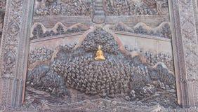 Thailändsk stilsilver som snider konst på tempelväggen Wat Srisupan Chia Royaltyfri Fotografi