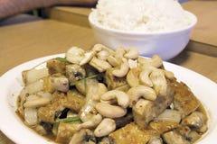 Thailändsk StirsmåfiskTofu med Cashewmuttrar med Rice Fotografering för Bildbyråer