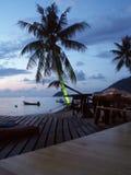 Thailändsk strand på natten Arkivfoto