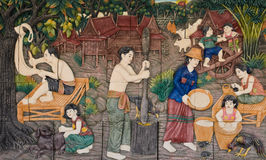 Thailändsk stuckatur för infödd kultur Arkivfoton