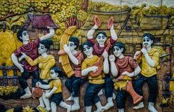 Thailändsk stuckatur för infödd kultur på tempelväggen Royaltyfri Foto