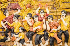 Thailändsk stuckatur för infödd kultur på tempelväggen Arkivbild