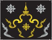 Thailändsk thai prydnaddesign och gräns Fotografering för Bildbyråer