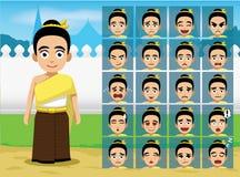 Thailändsk traditionell flickatecknad filmsinnesrörelse vänder mot vektorillustrationen vektor illustrationer