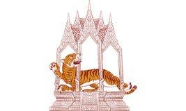 Thailändsk traditionell målning, tatuering Arkivbilder