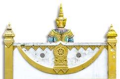 Thailändsk traditionell tempelvägg Royaltyfria Foton