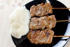 Thailändsk-utformade grillade griskött och klibbiga ris royaltyfria bilder