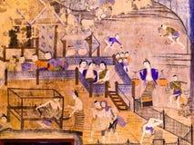 Thailändsk vägg- målning Arkivbild
