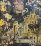 Thailändsk vägg- målning på tempelväggen Arkivbild