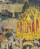 Thailändsk vägg- målning på tempelväggen Arkivbilder