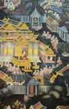 Thailändsk vägg- målning på tempelväggen Fotografering för Bildbyråer
