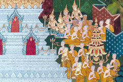 Thailändsk vägg- målning på väggen, Wat Pho, Bangkok, Thailand Royaltyfri Foto
