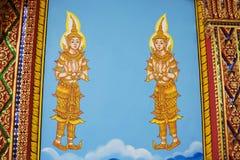 Thailändsk väggkonst i templet Fotografering för Bildbyråer