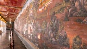 Thailändsk väggkonstarkitektur i den Emerald Buddha templet (Wat phrakaew) och kunglig storslagen slott Arkivbild