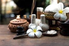 Thailändska bollar för den Spa massagekompressen, växt- boll och behandlingbrunnsort, kopplar av och sund omsorg med blomman, Tha Royaltyfri Fotografi