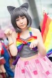 Thailändska cosplayers klär som teckenen från tecknad film och leken i den Japan festaen i Bangkok Arkivfoto