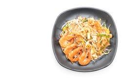 """Thailändska Fried Noodles \ """"block som är thailändskt \"""" med räkor eller räkor Arkivbild"""