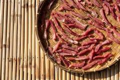 Thailändska Fried Sun-Dried Beef arkivbild