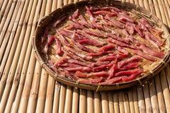 Thailändska Fried Sun-Dried Beef royaltyfri fotografi