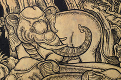 Thailändska klassiska Art Elephant Arkivfoto