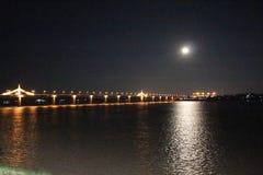 Thailändska Lao Friendship Bridge Mekong River arkivbild