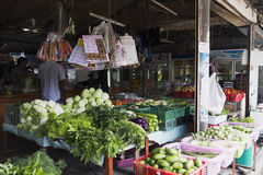 Thailändska marknadsprodukter och frukter mycket grönska Royaltyfria Foton
