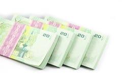 Thailändska pengar på vit bakgrund Royaltyfri Bild