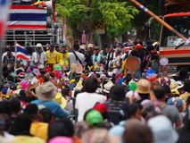 Thailändska personer som protesterar för PDRC Royaltyfria Bilder