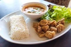 Thailändska ris med Fried Chicken Arkivfoton