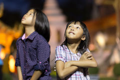 Thailändska små flickor Arkivfoto