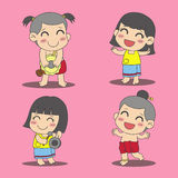 Thailändska ungar vektor illustrationer