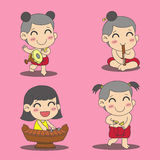 Thailändska ungar stock illustrationer