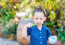 Thailändskt behandla som ett barn pojken som borstar tänder I behandla som ett barn handinnehavkoppen Fotografering för Bildbyråer