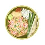 Thailändskt block eller uppståndelse Fried Noodles med räkor Arkivfoto