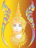 Thailändskt måla det vägg- tempelet Arkivbilder