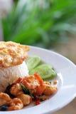 Thailändskt mat, räka som stekas Royaltyfri Fotografi