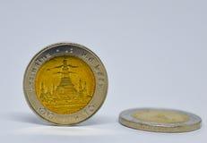Thailändskt mynt tio baht, brons och mynt Royaltyfri Fotografi