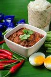 Thailändskt nordligt stilgriskött och tomat Chili Relish med klibbigt ric Arkivfoton