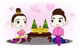 Thailändskt parbröllop Royaltyfri Foto