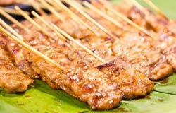 Thailändskt stilBBQ-griskött. Arkivbilder