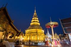 Thailändskt tempel i Lamphun Royaltyfria Bilder