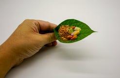 Thail?ndischer traditioneller wohlschmeckender Nachtisch Nahrung eingewickelt in den Bl?ttern stockbilder