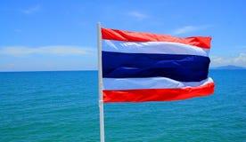 Thailand. Thais flag in south beach of Thailand Stock Image