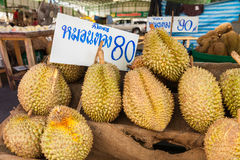 Thailan Exotic tropical fruits Durian on the street Bangkok Stock Photos
