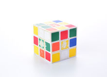 Thailand -  ‎November ‎10 : dirty rubik cube colorful isolated on the white background, Chiang Mai  ‎November ‎10, 2015 in Royalty Free Stock Images