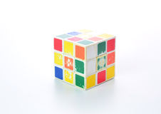 Thailand -  ‎November ‎10 : dirty rubik cube colorful isolated on the white background, Chiang Mai  ‎November ‎10, 2015 in Stock Photos