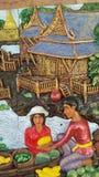 Thailand är kulturella stencarvings på väggarna starka, beauti Arkivfoton