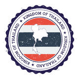 Thailand översikt och flagga i den rubber stämpeln för tappning av Royaltyfri Fotografi